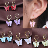 Pendientes de mariposa acrílico Hip Hop Joyería Cuelga Hoop Ear Anillo Clip Chandelier Mujeres Anillos Candy Colores Boda