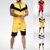 Conjuntos cortos para hombre Ropa de verano Casual de verano 2 pieza Conjunto ColorBlock Trajes de pista 2020 Masculino T Shirt + Shorts Algodón Hombres Trajes