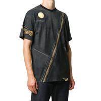 Goldener Reißverschluss Buchstaben Muster T-shirt Männer Designer T-shirt Frauen T-Shirt Paris Markenkleidung High-Version Streetwear T-Shirt 100% Baumwolle Top