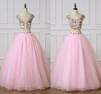 Rosa una linea Prom Quinceanera Due pezzi colorati cristalli perline Criss Cross Backless tulle principessa laurea spettacolo Abito lungo