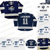 Chl Rimouski Oceanic 11 Alexis Lafeniere 23 Frederik Gauthier 67 Michael Frank 87 Sidney Costume Custom Chl Hockey Jerseys Branco azul marinho
