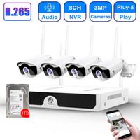 CCTV Sistema de Câmera sem fio HD 8CH NVR 4CH 3MP Wifi Camera Kit Audio Video Surveillance Home Security Set 1 TB de disco rígido