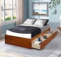Stati Uniti Stock ORIS PELLICCIA Quercia Colore Dimensione Stato Storage Platform letto con 3 cassetti per bambini adulti set camera da letto WF193634AAL