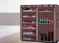Doble 9 capas zapato armarios bastidor estante almacenamiento organizador gabinete zapatos portátiles soporte de almacenamiento no tejido tejido anti polvo estante caliente