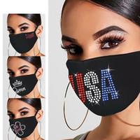 Máscara de la moda a prueba de polvo de diamante de Bling Bling máscaras protectoras PM2.5 boca reutilizable lavable EE.UU. bandera Corona colorido 3D Máscara facial diamantes de imitación