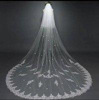 Duas camadas longo nupcial véus brancos Tulle Lace Applique Vestido de Noiva Véu de Acessórios para casamentos