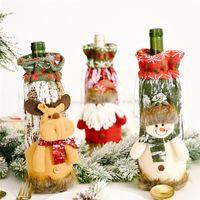Couverture de bouteille de vin de Noël Santa Claus Snowman Elk Stocking Vaisselle de la décoration de Noël Nouvel An Jk2008ph