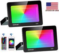 LED Flood Light 100W RGB Kleurverandering, Outdoor Bluetooth Smart Floodlights RGBW 16 miljoen kleuren, 44 toetsen Controller Bluetooth-app