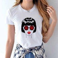 Diseñador niñas tes de las tapas de las mujeres linda camisas impresas en 3D T casual de moda de verano de manga corta blanca
