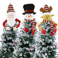 Большие елки Топпер украшения Санта снеговика Олени Hugger Xmas Праздник зимы партия Украшение Supplies JK2008XB