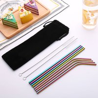 10 Pcs Pack FDA Test BPA Free Safety Heathy 304 Stainless Steel Reusable Straw with Cleaning Brushes for Travel Home Party Bar Drinkare