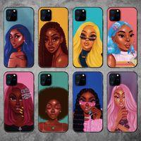 Телефон дела для iPhone 12 мини 11 Pro X XS XR Max Мода Черная девочка Мягкий ТПУ телефон Обложка для iPhone 8 Plus