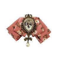 Collegio del collo del legame di arco di cristallo Spilla perla del Rhinestone stampata floreale cotone della camicia colletto perno Bowtie Uomo Accessori sposa sposo