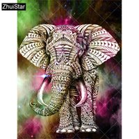 La pleine foret 5D bricolage carré diamant peinture « éléphant animal » croix broderie 3D point Mosaïque Décor cadeau XSH
