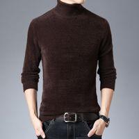Men's Sweaters Sweater Autumn And Winter Style Men High Lapel Faux Mink Cashmere Woollen Versatile Solid Color Thick