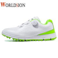 Professionale Mens Gole Scarpe Bianco Verde impermeabile Golf Sneakers rapido allacciatura golf calzature da uomo Taglia 39-45 Walking Shoes