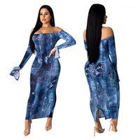 Robes Denim Trou du Club Sexy Slim Fractionnement Ruffle manches moulantes Robes Parti Femmes Mode Robes Femmes Slash Neck