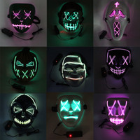 Halloween LED Mask Funny Masks Festival Cosplay Costume Supplies Party Light Skull Mask Purge New Year Glowing In Dark Mask CY BH2070