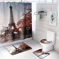 باريس برج ايفل مطبوعة للماء دش الستار مجموعة المناظر الطبيعية 3D عدم الانزلاق السجاد حمام ستائر حصير للحمام ديكور