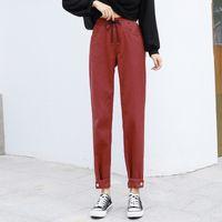 GUUZYUVIZ Red Harem Jeans Donna Autunno Inverno grandi dimensioni Jeans donna vita alta Pantalon Pour Femme Pantaloni Casual