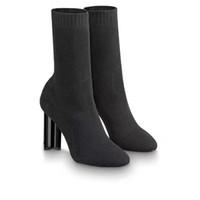 Box Tasarımcı Ayakkabı Kadınlar Siluet Bilek Boot Siyah Stretch Tekstil Martin Boots Yüksek topuk Çorap Çizme İşlemeli Bayan elbise ayakkabı