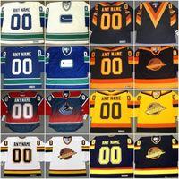 밴쿠버 Canucks 저지 모든 이름 번호로 사용자 정의 하키 유니폼 맞춤형 모든 완화 된 저렴한 믹스 주문