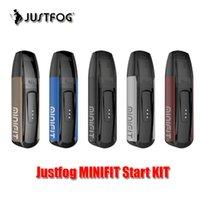 Justfog MINIFIT Starter Kit com 1,5 ml recarregáveis cartucho Pod Sistema Built-in 370mAh bateria de bateria restante Exibindo Vs palma Imini