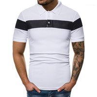 Maniche corte casuale risvolto collo Polo Polo Homme Mens Polo Moda a righe patchwork solido di colore Polo