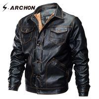 S.ARCHON invierno PU piloto Chaquetas Hombre Casual táctico Fleece chaqueta de bombardero chaqueta rompevientos ropa de la motocicleta