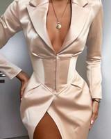 2020 여성 패션 우아한 단단한 단단한 허리 블레이저 코트 포켓 디자인 여성 비즈니스 재킷 얇은 봄 단단한
