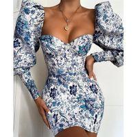 Kadınlar Seksi Uzun Puff Kol BODYCON Mini Elbise 2020 Sonbahar Mavi Çiçek Baskı Kısa Elbiseler Zarif Straplez Parti Kulübü Elbise