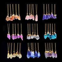 Multicolore Quartz Hearting Gold Link Chain Pendentif Collier Pierre Naturel Pierre Cristal Charms pour Women Bijoux