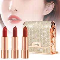 3pcs rossetto trucco Set con un supporto Cluth texture opaca Long Lasting Lip Gloss Makeup Lip Stick