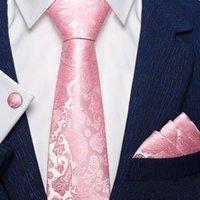 Bow Lazs Fashion Peach Pink Men Gifts Tie Hanky Gemellinks Coral 100% Silk Necktie Gravat Business Body Fiesta Set