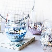 Yıldızlı gökyüzü cam yumurta bardak ev ve restoran su bardağı büyük göbek fincan suyu süt içecek kupası XD23878