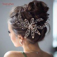YouLaPan HP281 Bridal Headband for Wedding Crystal Hairpiece Bride Golden Headdress Wedding Gold Hair Piece Vintage Hair Vine