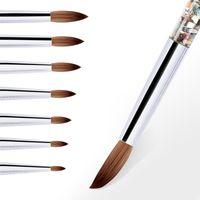 UV Jel Çizim Boyama Tırnak Astar Fırça Akrilik Tırnak Kalem Fransız Karışık Renkler Kabak Kolu Nail Art DIY Araçları 0157