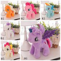 Licorne en peluche Jouets peluche 22cm poney Doll 6 couleurs Rainbow Kids petit cheval Peluche enfants Cadeaux GGA3653-1