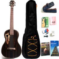 30 '' All Blackwood Baritone Acoustic Electric Ukulele con asta del capriata con EQ con sacchetto di gig, cinturino, stringa di nylon, sintonizzatore elettrico