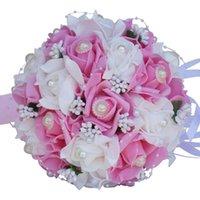 زهور الزهور الزخرفية 8 ألوان لطيف pe روز زهرة مع لؤلؤة باقات الزفاف لزفاف الحرير الشريط العروس باقة اليد القابضة marri