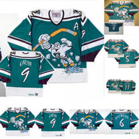 1995-96 Anaheim Poderoso Ducks Wild Wing Jersey 5 Dirk 6 Don McSween 8 Teemu Selanne 9 Paul Kariya 11 Valeri Karpov Hóquei Personalizado Jerseys