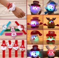 Banda de pulso de Natal LED aplauso Pulseira de incandescência Pulseira Papai Noel Iluminação aplauso Anel para a mão Crianças Pulseira Mão Pulseiras Jóias