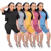 Designer Womens Tracksuits Короткие наряды 2 штуки набор модные градиентные цветные повседневные с короткими рукавами и шорты брюки спортсмены летняя одежда бесплатно