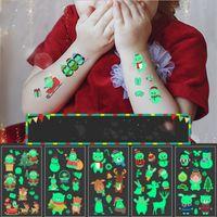 2020 Nuit de Noël lumineux autocollant de tatouage Body Art fluorescent tatouage temporaire autocollant Halloween Decal enfants Cartoon Visage Tattoo E92703