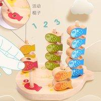 Infantil de madera del grano de los juguetes magnéticos pesca Gifts cognitiva Jenga Juego de Niños 3D Fish bebé juguetes educativos divertido temprana para bebés