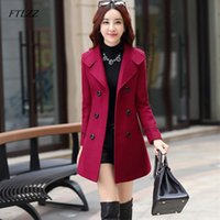 FTLZZ Women Wool Blend Warm Long Coat Plus Size Female Slim ...