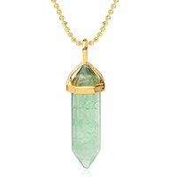 المدببة الحجر الطبيعي الأخضر فلوريت المعلقات القلائد الذهبية اللون سداسي بريزم اثنين كريستال قلادة أنثى مجوهرات