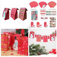 Regalos de papel Kraft Bolsas de Navidad de la abrazadera + etiqueta engomada + String + Colgar + bolsa de almacenamiento Traje diseñador de moda Impreso muñeco de nieve bolsa Buggy Bolsa D91708