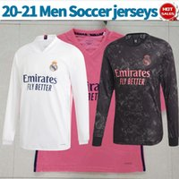 Manches longues 2021 Real Madrid Soccer Jerseys Away Rose Risque Benzema 20/21 Hommes Home Home Troisième Zidane Kroos Football blanc à manches blanches