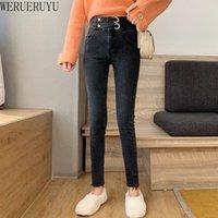 Pantalons Femmes Capris Werueruyu 2021 Simple Pieds Jeans Femmes Taille haute Était maigre Prafonnier Slim Multi-Button Pantalons